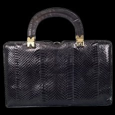 Vintage 1950's Black Python Skin Handbag by Ackery, London
