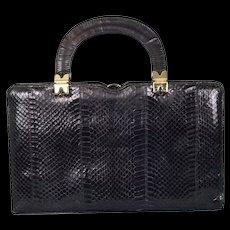 Vintage 1950's Black Python Skin Handbag by Ackery, London