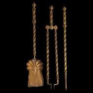 An Antique Three Piece Set of Victorian Brass Fire Irons c.1880