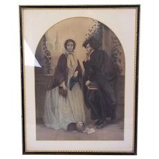 A Victorian Colored Mezzotint Of An Undergraduate And His Love c.1860 #2