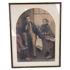 A Victorian Colored Mezzotint Of An Undergraduate And His Love c.1860