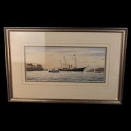 Colin Baxter Watercolour HMY Victoria & Albert III Entering Portsmouth Harbour