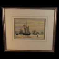 Colin Baxter Watercolour Of 1910 Schooners Airing Sails