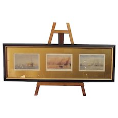 Framed Set Of Three Original Chromolithographic Plates By W. L. Wyllie 1918