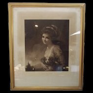 Framed Engraving Of Lady Hamilton As Nature Engraved By M. Cormack