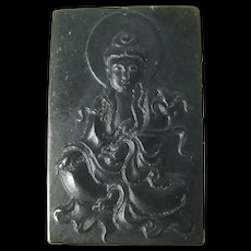 Chinese Finely Carved Dark Green Contemporary Buddha Jade Pendant