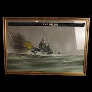 Acrylic Painting Of HMS Nelson As At 1939 In Dazzle Paint