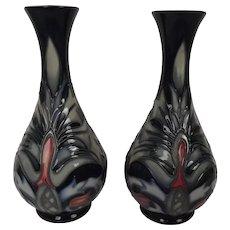 Pair Of Moorcroft Snakeshead Pattern Tube Lined Vases By Rachael Bishop