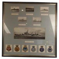 Framed Set of Photographs of Various Royal Navy Ships Including HMS Belfast