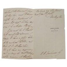 1837 Original Signed Letter From The Duke Of Wellington