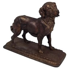 Late Victorian Gold Finish Spelter Figure of a Standing Hound