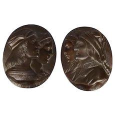 19th C. Italian Bronzed Pewter Plaques 'Dante E Beatrice' & 'Raffaello E Fornari