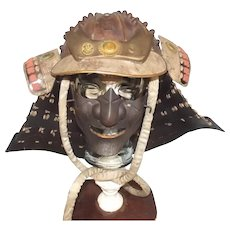 Japanese Edo Period Kabuto Samurai Helmet And Mengu (Mask)