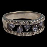 18ct White Gold Diamond & Tanzanite Band Ring UK Size N US 6 ¾