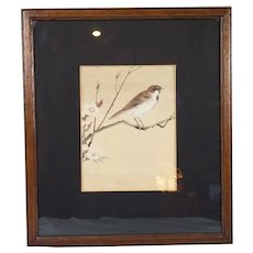 A Victorian Watercolour Of A Bird On Cherry Blossom