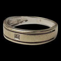 9ct White Gold & Diamond Gents Band Ring UK Size Q+ - US 8 ½