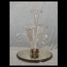 Late 19th Century Large Clear Four Trumpet Glass Epergne