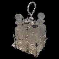 Silver Sheffield Electro Plated & Cut Glass Condiment Roberts & Belks