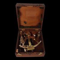 Royal Navy Cased Polished Bronze Naval Sextant