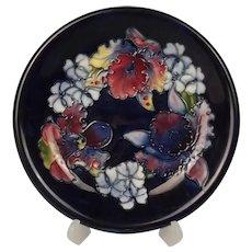 Walter Moorcroft Orchid Pattern Shallow Footed Dish Circa 1950
