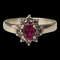 9 Ct White Gold Ruby & Cubic Zirconia Flower Head Ring UK Size R US 8 ¾