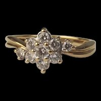 9ct Yellow Gold Cubic Zirconia Flower Head Ring UK Size L+ US 6