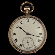 1922 9ct Rose Gold Open Faced Manual Wind Pocket Watch