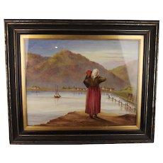Fine Framed 19th Century Oil On Porcelain Plaque Portrait Of A Lady, Signed
