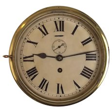 Circa 1940's Brass Ships Bulkhead 8 Day Clock