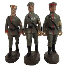 Set Of Three Circa 1930 Elastolin German Medical Soldier Figures