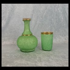 Green And Gilt Bacarrat Carafe And Tumble Up Set
