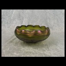 Bohemian Kralik Threaded Iridescent Green Glass Bowl