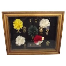 A Framed Display Of Fusilier Badges And Plumes