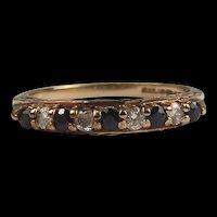 1990 9ct Yellow Gold Sapphire & Zirconia Ring UK Size P+ US 7 ¾