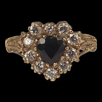 9ct Yellow Gold Sapphire & Cubic Zirconia Ring UK Size M US 6 ¼