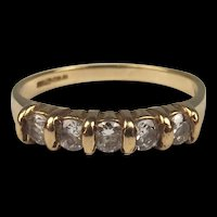 9ct Yellow Gold Five Stone Cubic Zirconia Ring UK Size K US 5 ¼
