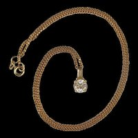 9ct Yellow Gold Chain With 14ct Yellow Gold Zirconia Pendant