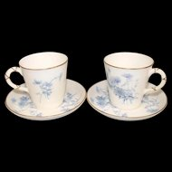 1892 Cup & Saucer Royal Worcester Blue Flower Set