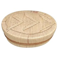 Circa 1900 Native American Oval Feather Quill Box