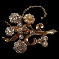 An Edwardian Pearl and Diamond (3.25ct) Flowers Brooch Set In 18ct Gold