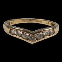 9ct Yellow Gold Cubic Zirconia Wishbone Ring UK Size O+ US 7 ½