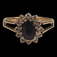 1983 9ct Yellow Gold Sapphire & Cubic Zirconia Flower Head Ring UK Size N US 6 ¾