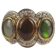 9ct Yellow Gold Opal & Diamond Ring UK Size M US 6 ¼