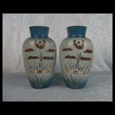 Pair Of Large Victorian Painted Glass Vases