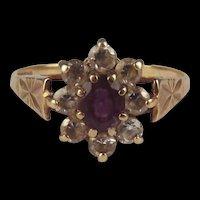 9ct Yellow Gold Amethyst & Zirconia Flower Head Ring UK Size M US 6 ¼