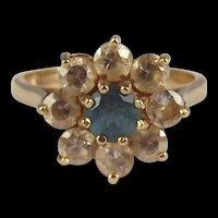 9ct Yellow Gold Aquamarine & Zirconia Flower Head Ring UK Size O+ US 7 ½