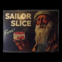 Framed Original Advertising Poster For Sailor Slice Salmon By Septimus E. Scott c1920's