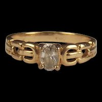 9ct Yellow Gold Cubic Zirconia Ring UK Size R+ US 9