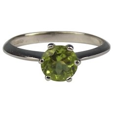 9ct White Gold Green Citrine Solitaire Ring UK Size N US 6 ¾
