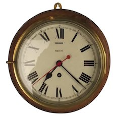 Mounted Smiths Large Brass Ships Bulkhead Clock